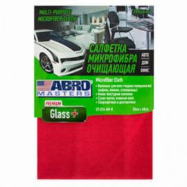 ABRO Салфетка очищающая микрофибра набор Glass+35*40, 300г/м2 (Abro Masters, Китай) красная